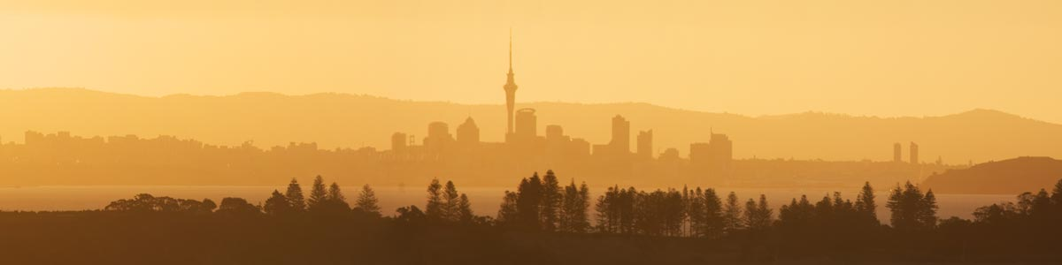 Auckland City Skyline from Waiheke Island